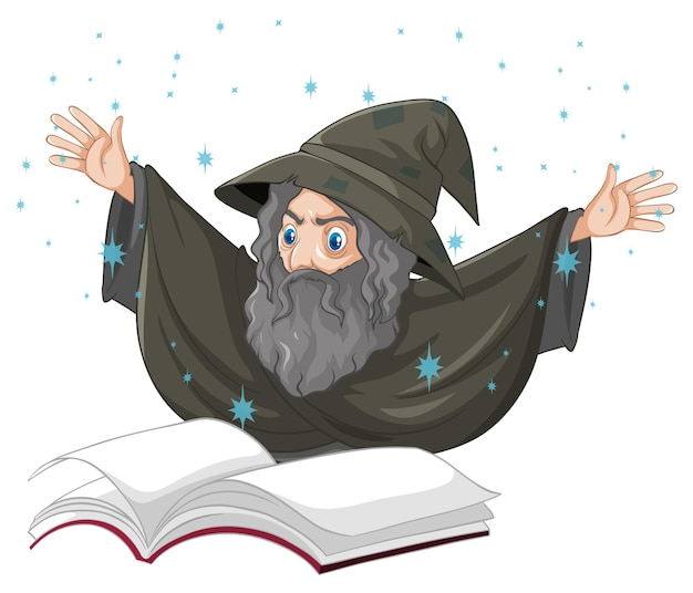 Velho mago com feitiço e livro estilo cartoon isolado no branco