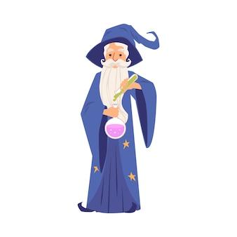 Velho mago de manto e chapéu fica segurando o tubo de ensaio e o frasco do estilo cartoon, isolado no fundo branco. bruxo barbudo com manto derrama poção mágica no bulbo