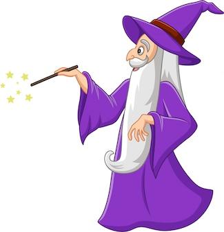 Velho mago dos desenhos animados com varinha mágica