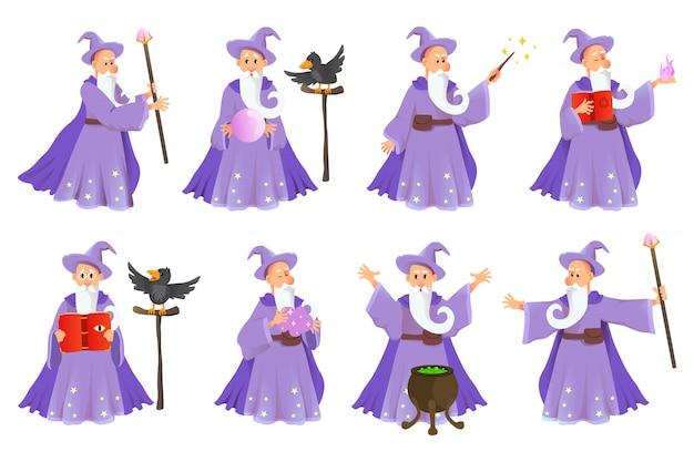 Velho mago dos desenhos animados em várias poses. personagem de feiticeiro em traje, mágico feitiço, bruxaria e ilustração mágica