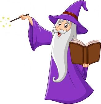 Velho mago dos desenhos animados, segurando um livro de magia