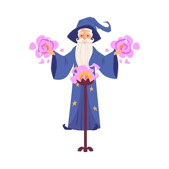 Velho mago e mágico com chapéu e barba cria feitiços com uma bola mágica.