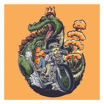 Velho motociclista com apocalipse de dinossauros