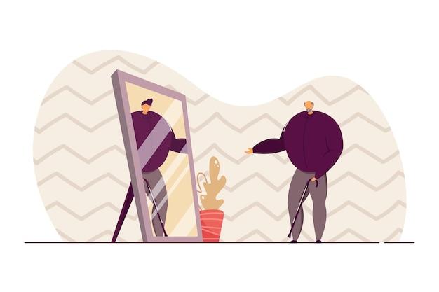 Velho olhando no espelho e vendo um self mais jovem. idoso com vara de despertar, jovem em ilustração vetorial plana de reflexão. juventude, conceito de nostalgia para banner, design de site