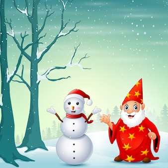 Velho papai noel acenando a mão com boneco de neve