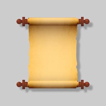 Velho pergaminho realista com alças de madeira.