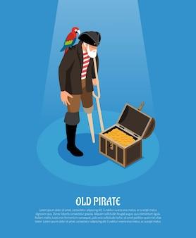 Velho pirata com perna de pau e papagaio perto de composição isométrica do baú do tesouro em azul