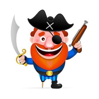 Velho pirata com uma perna de pau
