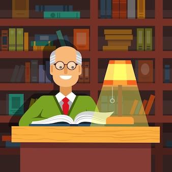 Velho professor em óculos lendo um livro