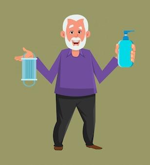 Velho, segurando e mostrando a garrafa de gel desinfetante e máscara facial