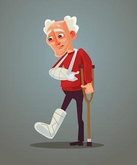 Velho triste quebrou a perna, ilustração plana dos desenhos animados