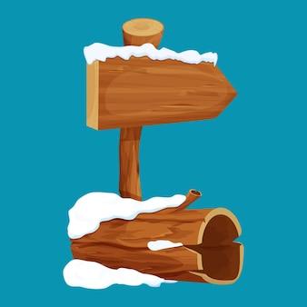 Velho tronco de árvore e tabuleta de flecha com neve em estilo cartoon