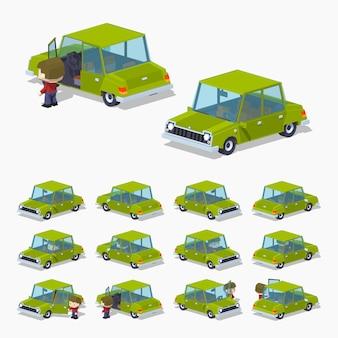 Velho verde 3d lowpoly sedan isométrica