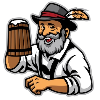 Velho vestindo roupas alemãs tradicionais e segure a cerveja