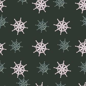 Velho vintage padrão sem emenda em estilo pirata com ornamento de leme de navio cinza e azul. fundo escuro.