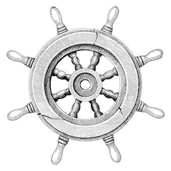 Velho volante navio mão desenho estilo vintage