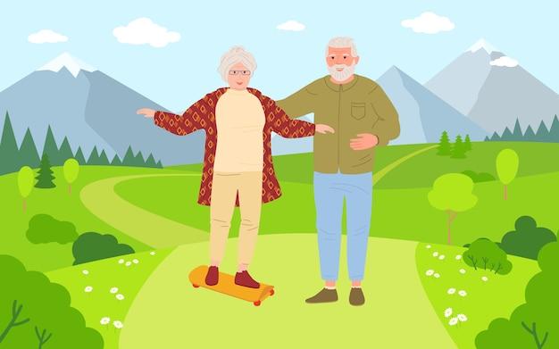 Velhos e mulheres andando de skate. estilo de vida saudável e ativo dos desenhos animados