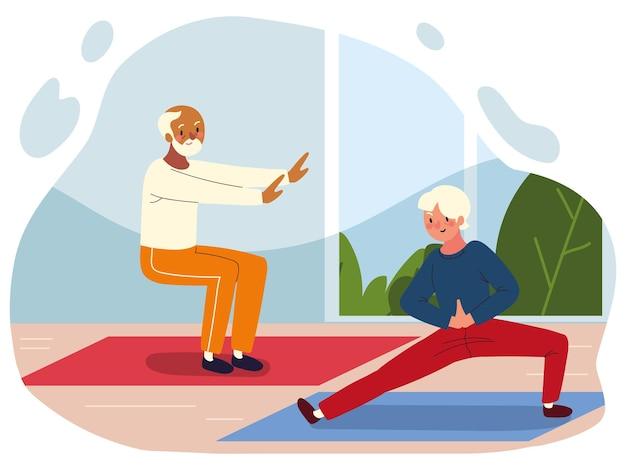 Velhos praticando exercícios