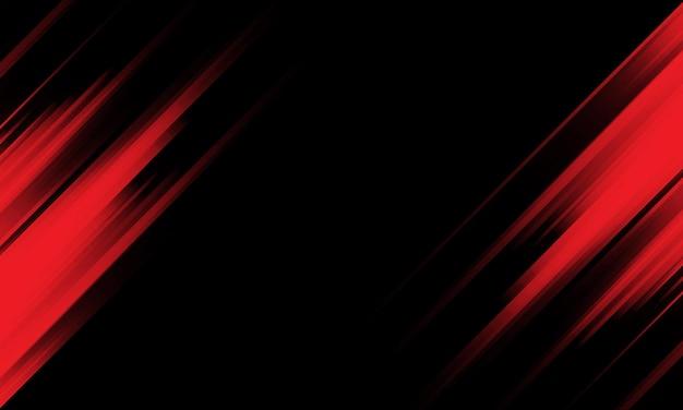 Velocidade da luz vermelha abstrata dinâmica na ilustração vetorial de fundo futurista de tecnologia preta.