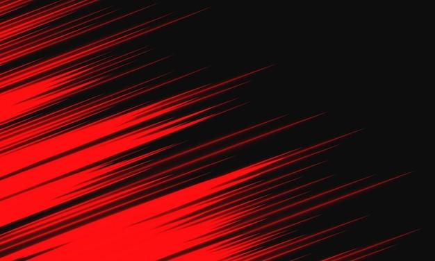 Velocidade da luz vermelha abstrata dinâmica na ilustração vetorial de tecnologia de fundo preto.