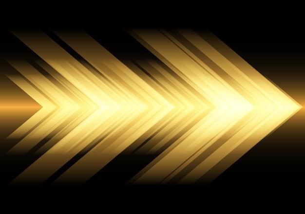 Velocidade da seta da luz amarela no fundo preto da tecnologia.