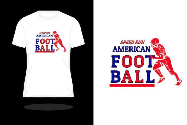 Velocidade de corrida design de camiseta silhueta de futebol americano