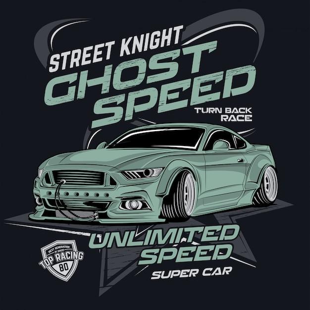 Velocidade de rua cavaleiro fantasma, ilustração vetorial de carro