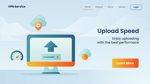 Velocidade de upload de campanha para modelo de página de destino de página inicial de website