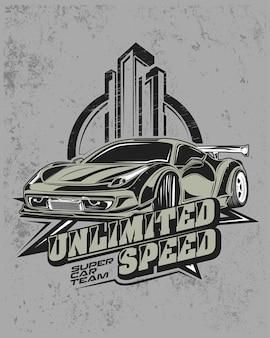 Velocidade ilimitada, ilustração de carro de corrida moderno