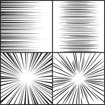 Velocidade linhas movimento tira mangá cômico horizontal