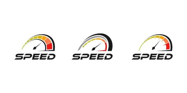 Velocímetro, coleção de design de ícone de logotipo de velocidade rpm