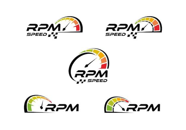 Velocímetro, coleção de modelos de design de ícone de logotipo de velocidade rpm