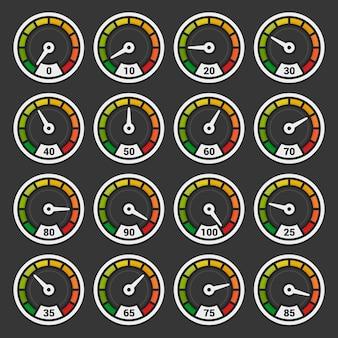 Velocímetro e indicadores definidos no escuro