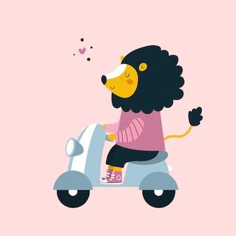 Velomotor animal do passeio do leão engraçado bonito. personagem de desenho animado adorável para crianças