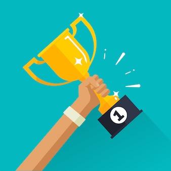 Vencedor conquista esporte prêmio com copo de ouro na mão plana