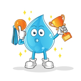 Vencedor da gota d'água com troféu e medalha