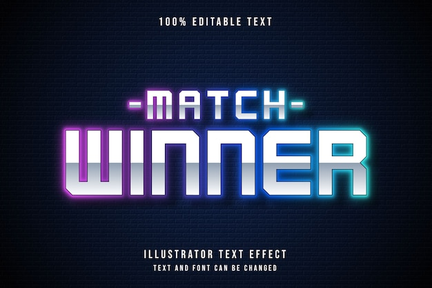 Vencedor da partida, efeito de texto editável em 3d gradação rosa estilo de texto roxo azul neon