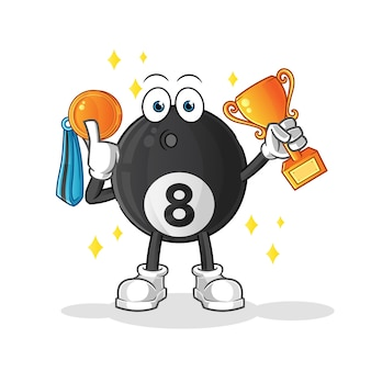 Vencedor de bola de bilhar com troféu e personagem de desenho animado medalha