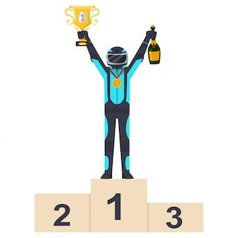 Vencedor de corrida de kart no pódio com taça de ouro