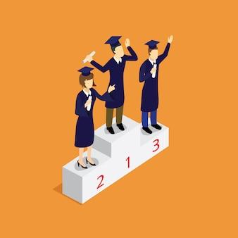 Vencedor de educação com isométrica