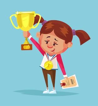 Vencedor de menina sorridente feliz segura a taça de ouro. desenho animado