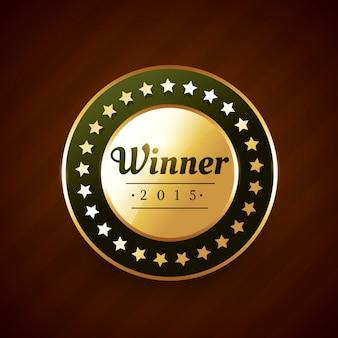 Vencedor do ano goldeb distintivo de rótulo com estrelas