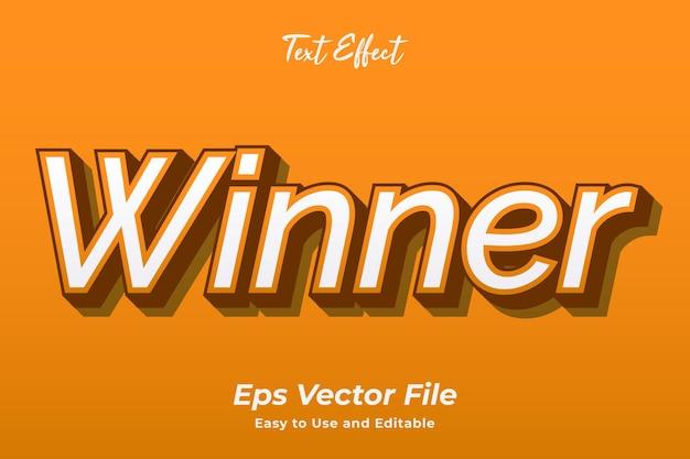 Vencedor do efeito de texto editável e fácil de usar premium vetor