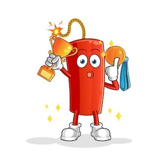 Vencedor do leite com troféu e medalha. personagem de desenho animado