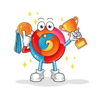 Vencedor do pirulito com troféu e personagem de desenho animado medalha