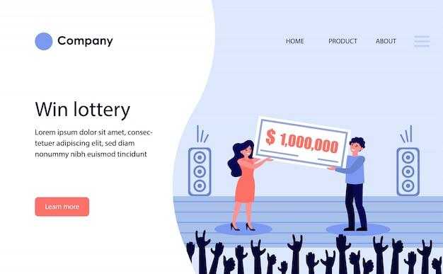 Vencedor do prêmio da loteria. modelo de site ou página de destino