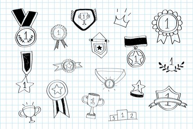 Vencedor do primeiro lugar doodles vector coleção