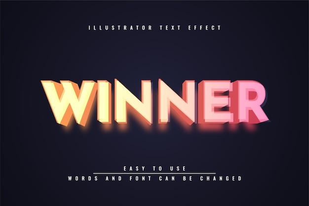 Vencedor - efeito de texto editável