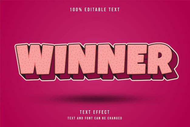 Vencedor, estilo de texto em quadrinhos com efeito de texto editável gradação creme e rosa