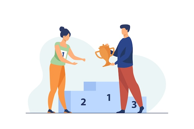 Vencedor feminino recebendo o primeiro prêmio. homem dando a taça de ouro para a mulher na ilustração vetorial plana do pódio. vencimento, liderança, conceito de realização